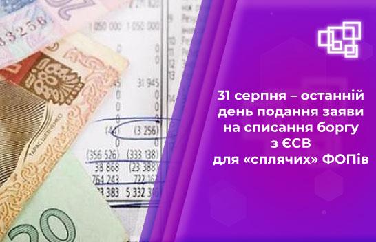 31 серпня – останній день подання заяви на списання боргу з ЄСВ для «сплячих» ФОПів