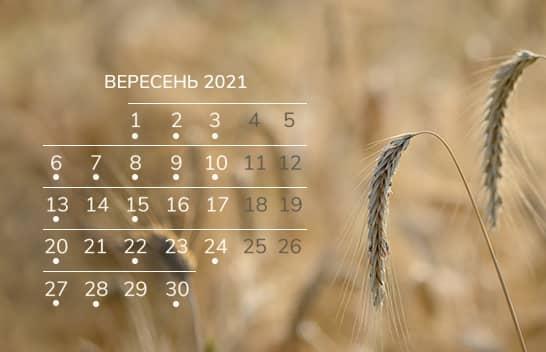 Календар бухгалтера на вересень 2021 року